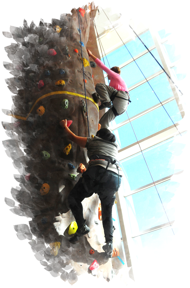Two Girls Rock Climbing